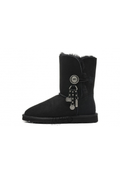 Угги UGG Bailey Button Azalea Black, 36-40