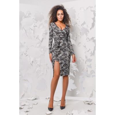 Платье КР-5978-21, (серо-коричневый)
