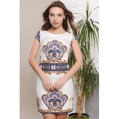 Платье KP-5623, (Белый-желтый)