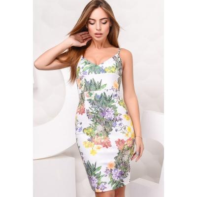Платье KP-5894, (Белый-сирень)
