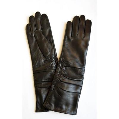 Перчатки зимние длинные кожаные женские